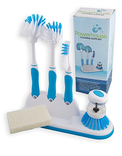 Kitchen Cleaning 5-Piece Set, Includes Storage Caddy and 3 Brushes for Scrubbing Dishes, Pots and Pans, Utensils. Bonus Palm Brush and Vegetable Peeler (Blue)