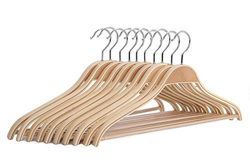 J.S.Hanger Robuste e resistenti grucce in legno per vestiti, antiscivolo, con finiture naturali e particolarmente ampie, confezione da 10 pezzi