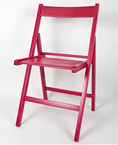Gerimport Chaise pliable Rouge de bois 38 x 42 x 87 cm