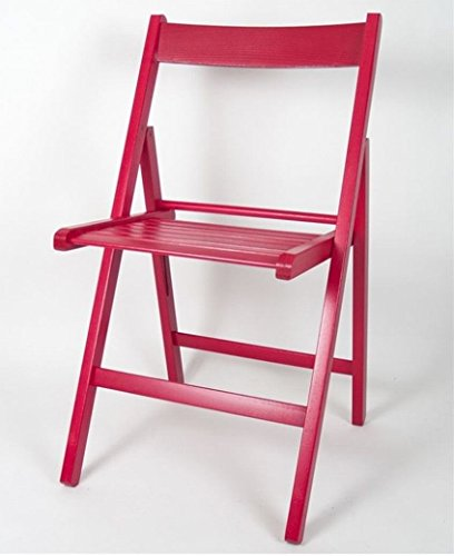 Gerimport Silla Plegable roja de Madera 38x42x87 cm