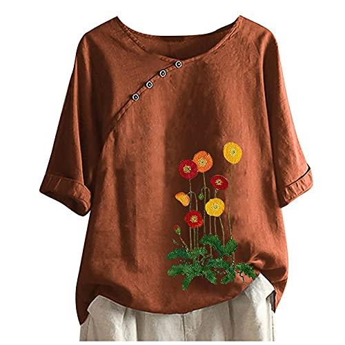 BUKINIE Womens Plus Size Tops Crew Neck Short Sleeve Floral Print Button Down Cotton Linen T-Shirt Casual Baggy Comfy Blouse