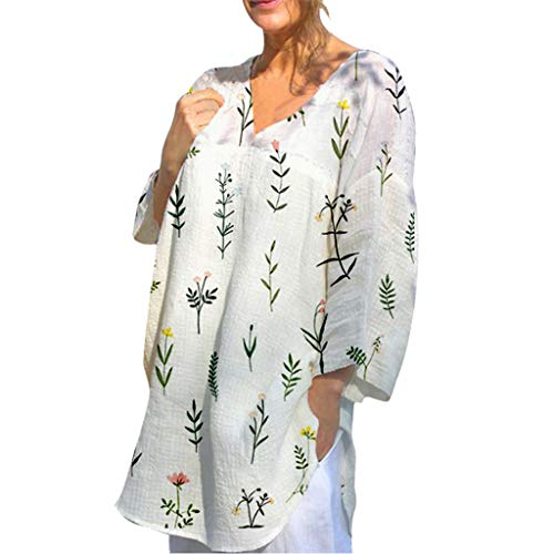 Zegeey Damen T-Shirts V-Ausschnitt Langarm Blumen LäSsige Lose Sommer Oberteil Bluse Tunika Pullover Shirts (Weiß,42 DE/2XL CN)