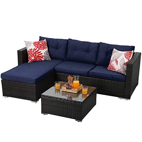 PHI VILLA Outdoor Rattan Sectional Sofa- Small Patio Wicker Furniture Set (3-Piece, Blue)