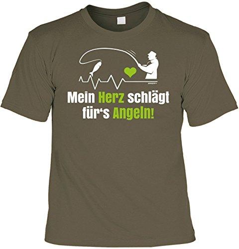 Angler Fun T-Shirt - Mein Herz schlägt für s Angeln! - ! Fischer Geburtstag