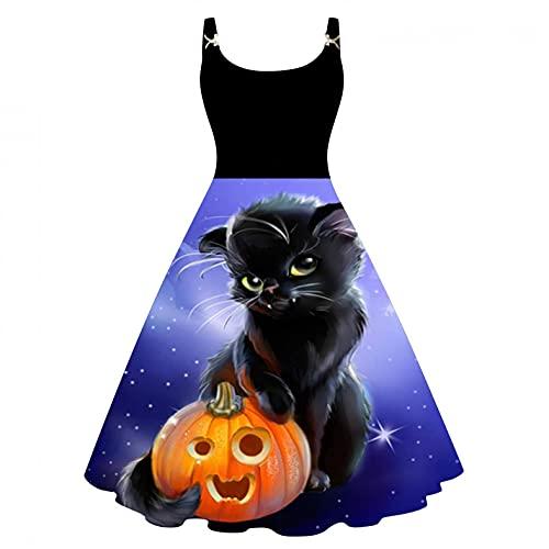 Julhold Vestido de cóctel para mujer Vintage Halloween tema impresión sin mangas hasta la rodilla vestido de fiesta vestido de fiesta (azul, XXL)