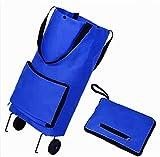 PSFYYY Bolso de Compras Plegable, Bolso de remolcador, Bolso de Compras Respetuoso con el Medio Ambiente portátil de Doble Uso de Oxford, Carro de comestibles, Bolso Plegable (Color : Blue)