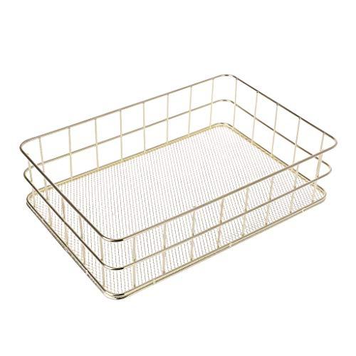 ZZALLL Cesta de Almacenamiento de Metal Moderna, contenedor de Caja de Malla de Alambre, Cocina, Oficina, baño, estantes, Organizador de Escritorio de Maquillaje