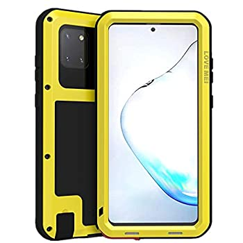 LOVE MEI for Samsung Galaxy Note 20 Ultra Case Outdoor Sports Military Heavy Duty Shockproof Hybrid Aluminum Metal+Silicone Case Hard Cover Without Tempered Glass for Galaxy Note 20 Ultra  Yellow