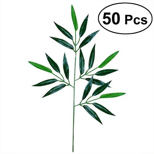 bestoyard ramas de bambú con hojas artificiales para decoración 50pcs