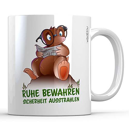 INWIEDU - Keramik Tasse Maulwurf Archimedes mit Spruch: Ruhe bewahren, Sicherheit ausstrahlen - 330 ml - Ø 80 H 96 mm - Kaffee Becher Tee