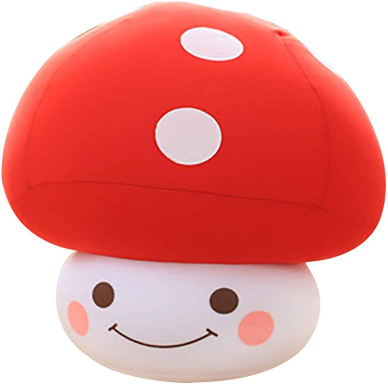 ABIA Mushroom Plush Stuffed Toys Cute And Comfort Mini Dolls Green Fresh Fruit Vegetable Pillow Food Shape Sofa Cushion Kids Toddler Dog Bedtime Toys Red