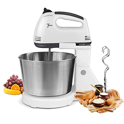 WOOW DEPOT Stand Mixer 7-Speed Electric Mixers 2.6 QT Kitchen Pasta Maker Cake Mixer with Bowl and Stand Tilt-Head Detachable Handle with Dough Hook Whisk Stainless Steel Bowl, White