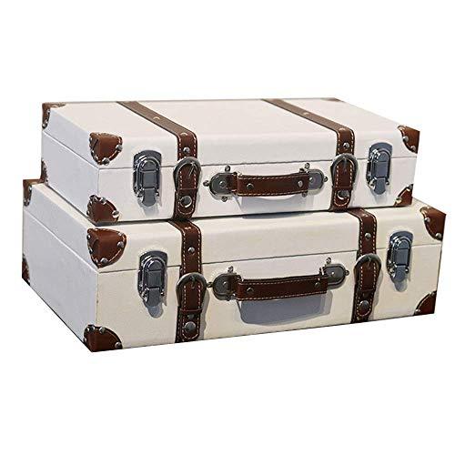 GPWDSN Caja Decorativa Maleta de Madera portátil Equipaje Ropa e Accesorios de fotografía Adornos de decoración Cajas de Edad (Blanco, 2 Piezas)