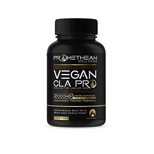 Vegan CLA Pro 2000 mg Pure Premium CLA Safflower Oil Conjugated Linoleic Acid Best Belly Fat Burner Weight Loss Supplement for Men & Women 120 Count Softgels High Potency Optimum Dosage 1250