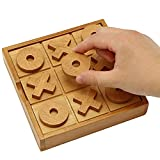 JOYIN Wooden Tic Tac Toe Game for Kids and Adults, Coffee Top Table Living Room Decor and Desk Decor Family Games Night Classic Board Games Rustic Game for Families