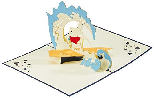 LIN-POP UP Grußkarten, Geburtstagskarten Reisegutschein Surfer