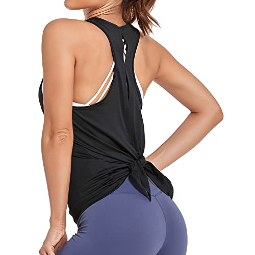 Sylanfia Mujer Espalda Abierta Yoga Camiseta Atar la Ejercicio de Espalda Cruzada Camiseta sin Mangas Parte Superior Yoga Fitness Chaleco Deportivo