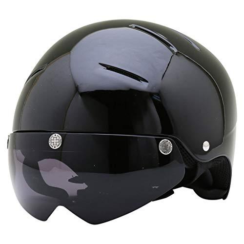 原付 ヘルメット 半ヘル バイク ハーフヘルメット-RZ-2-実用新案登録-SG/PSC-マグネットシールドベース付-ネオライダース -電動バイク-電動スクーター-ホバーボード-電動キックボード-電動キックスケーター-NEO-RIDERS-ブラック (スモ