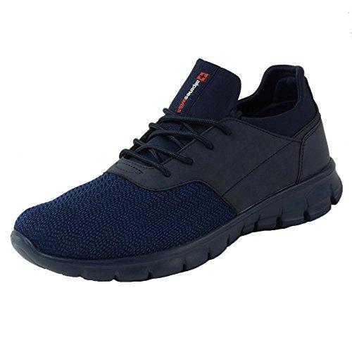 Alpine Swiss Leo Men Sneakers Flex Knit Tennis Shoes Casual Athletic Lightweight,Navy,13 D(M) US