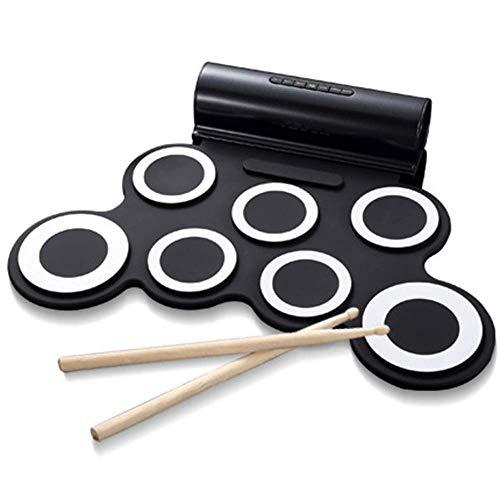 Batería electrónica, portátil, altavoz incorporado y batería recargable, gran regalo for los niños, principiantes (Color: Negro) kyman (Color : Black)