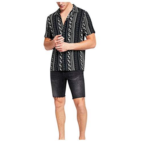catmoew Hawaii Herrenhemd Lässig Aloha Persönlichkeit Funky Drucken Bequem Urlaub Strand Party Groß Kurzarm Herren Kurzarm Kurzarmhemd