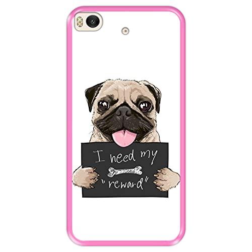 Funda Rosa para [ Xiaomi Mi5s - Mi 5s ] diseño [ Cachorro Pug con Cartel, Necesito mi recompensa ] Carcasa Silicona Flexible TPU