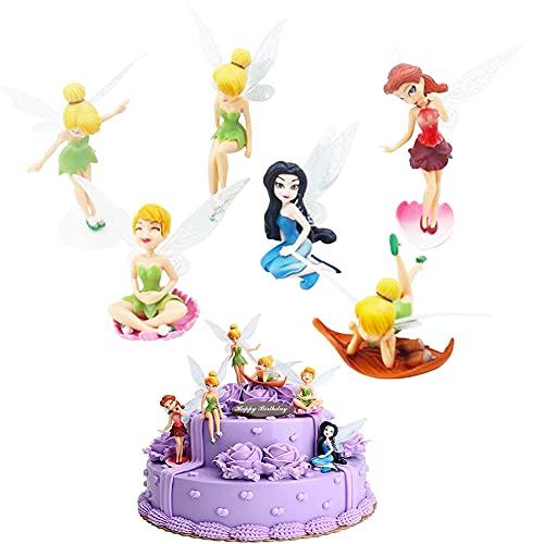 TRRY Juego de 6 minifiguras decorativas de jardín con diseño de hadas Pixie en miniatura, figuras de micro paisaje para la decoración de la tarta de cumpleaños de la familia