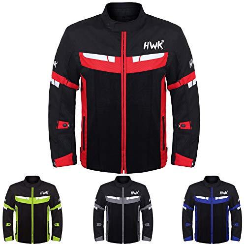 HWK Mesh Motorcycle Jacket Riding Air Motorbike Jacket Biker CE Armored Breathable (Large, Red)