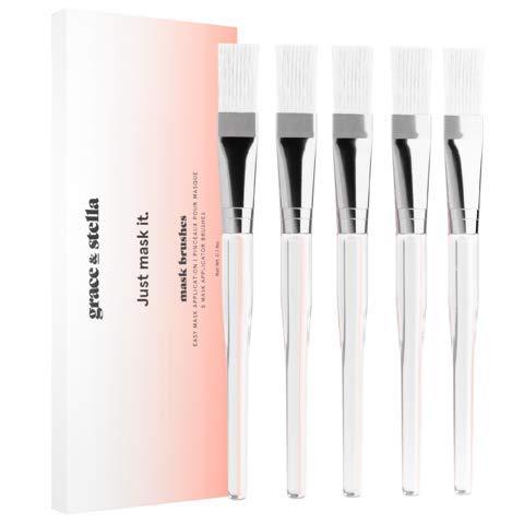 Cepillos para aplicacin de la mscarilla facial Grace & Stella - Cepillo suave para maquillaje - cepillos sintticos suaves profesionales para la aplicacin de mascarilla facial (Paquete de 5)