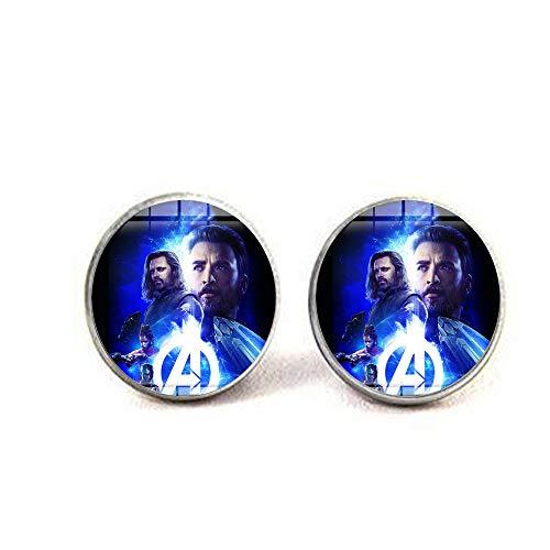 bab Marvel Avengers Infinity War-Halskette, Superhelden, Major League, Kunstposter, handgefertigtes Glas-Cabochon-Anhänger, Film-Schmuck, 2 Ohrringe, literarischer Schmuck