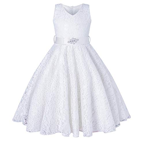 BEAUTY CHARM Girls Tulle Lace Glitter Vintage Pageant Prom Dresses with Belt White