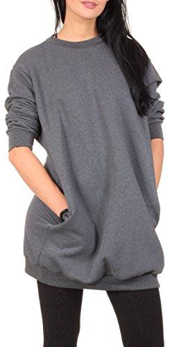 Oversize Pullover Sweatshirt Damen Sweater - VIELE Farben - Pulli Hipster Longshirt Oversized Shirt (S/M, Dunkelgrau)