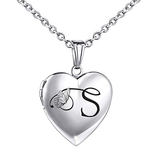 Locket Necklace that Holds Pictures Initial Alphabet Letter Heart Shaped Photo Memory Locket Pendant Necklace (S)