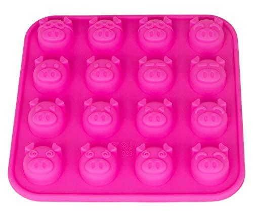 Silikonform mit 16 Schweinchen, Schwein, Pralinenform, Schokolade, Giessform, Silicone Mold, Kindergeburtstag, Eiswürfel, Pig, Silvester, New Year, Glück, Deko Kuchen, Farbe: Pink