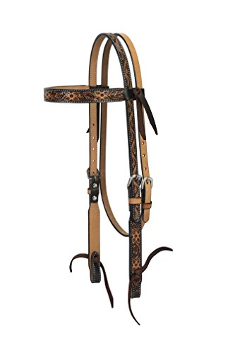 Turquoise Cross Floral Tooled Browband Headstall