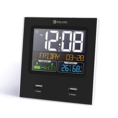 Digoo DG-C3X - Calendario de hora (12 horas/24 horas), diseño de la temperatura y la humedad (2 USB)