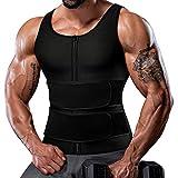Sauna Vest for Men Sweat Vest Waist Trainer Trimmer Weighted Vest Slimming Shaper Cincher 2 in 1 Belt with Zipper Black