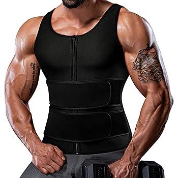 Sauna Vest for Men Waist Trainer Trimmer Mens Tank Weighted Vest Slimming Shaper Trainer 2 in 1 Belt with Zipper XL Black