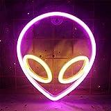 DUBENS Alien, luci al neon per decorazione da parete, alimentate tramite USB, luci decorative al neon, per la casa, la cameretta dei bambini, bar, festival, compleanno (rosa + giallo)