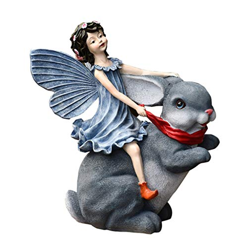 Estatuas De Jardín Al Aire Libre Del Conejo Lindo De La Muchacha...