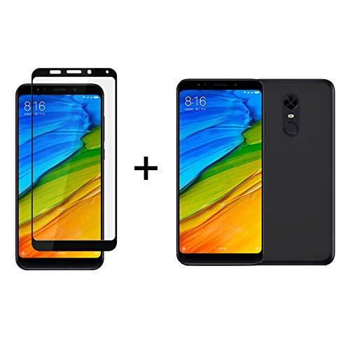 TBOC Pack: Funda de Gel TPU Negro + Protector Pantalla 5D Negro para Xiaomi Redmi 5 Plus - Redmi 5Plus [5.99'] Silicona Ultrafina Flexible Vidrio Templado [Protección Completa] Dureza 9H Antihuellas