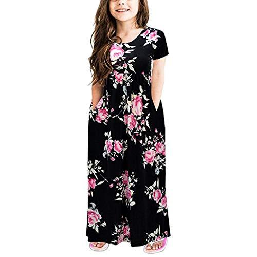Mädchen Vintage Kleid Rockabilly Blumendruck Swing Party Kleider Mädchen Kurzarm Skaterkleid langes Kleid Sommer Kleid Baumwolle Rundhals Freizeitkleidung Elegante Partykleider