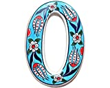 Large Ceramic House address number 0, Light Blue, 4.7inch Tall, Hand Decorated, House number signs, Door numbers, Housewarming gifts