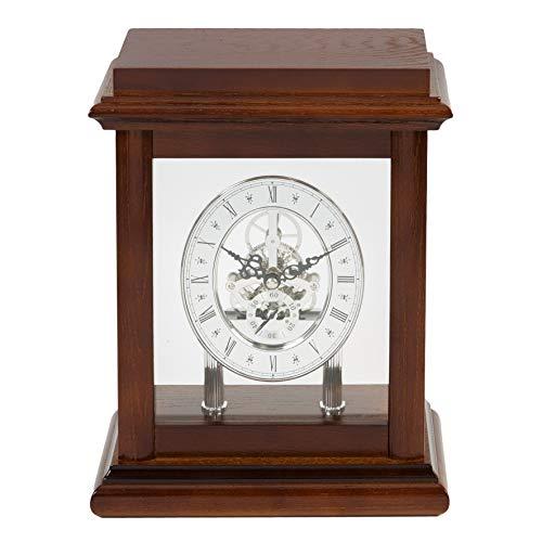 Diww Tischuhr mit Skelett-Uhrwerk, Mahagoni-Holz, 26 cm
