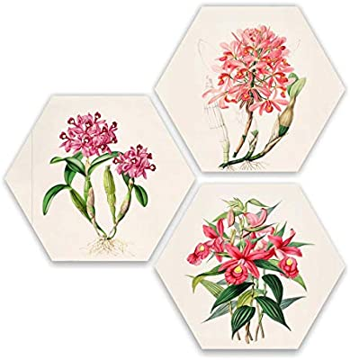SAF Beautiful Pink and Red Flower 3 Piece of Hexagon UV Textured Multi-Effect Self adheshive Painting 17 Inch X 17 Inch SANFHX181