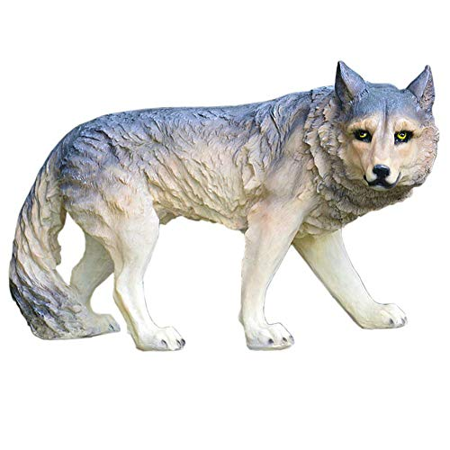 LIUSHI Estatua de Escultura de Lobo, Modelo de Animal de jardín Grande de Lobo, paisajismo al Aire Libre, artesanía de Resina de Animales Salvajes, 75 * 30 * 43Cm