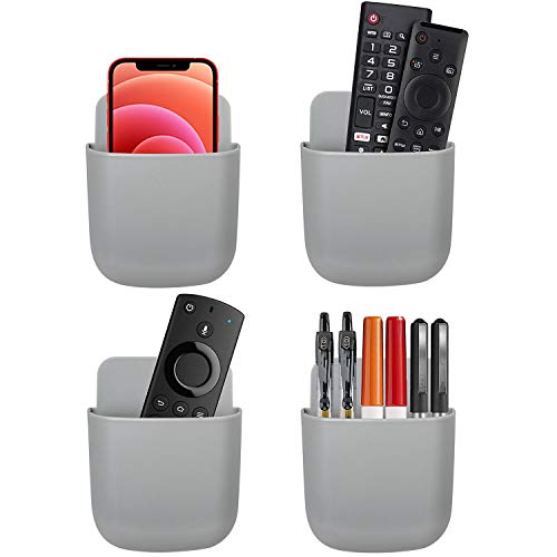 AREAJD 4 Pack 2021 Upgrades Wall Mount Remote Control/Pen Holder/Cell Phone Holder, Tablet Charging Station with Adhesive, Bedside Shelf, Grey