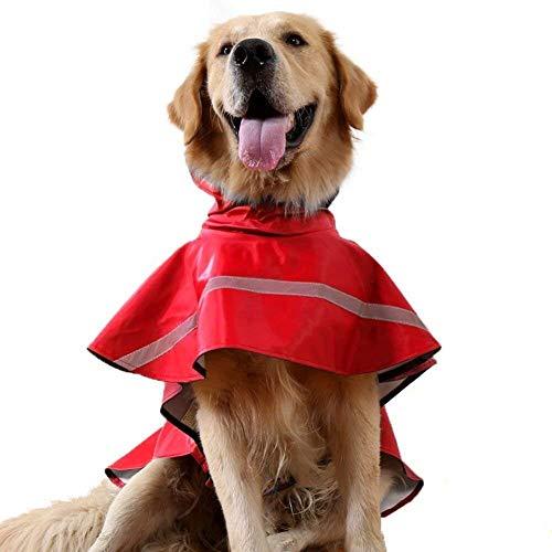 Tineer Regolabile Impermeabile Cane con Cappuccio Impermeabile Cane Riflettente Cappotto Pioggia Giacca Cane Vestiti Antipioggia per Cani Piccoli di Taglia Media (L, Rosso)