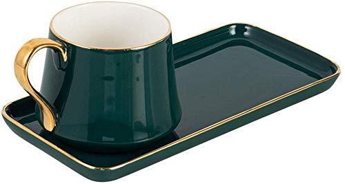 Keramik Kaffeetasse Keramik Tasse Frühstück Milch Tasse Kaffeetasse Nachmittagstee Set Kreative Europäische Kleine Keramik Kaffeetasse Und Untertasse Set Kreative Geburtstagsgeschenk(Farbe: Grün,Größe