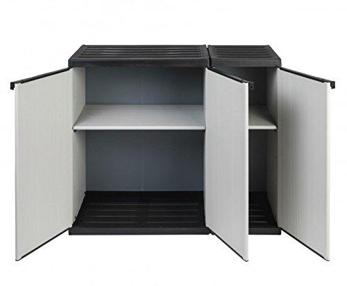 Modularer Universal Kunststoffschrank Kommode 2 in 1 mit DREI Türen und höhenverstellbaren Böden. Robuste Ausführung, in Grau. Maße BxTxH : 102 x 39,5 x 85 cm.